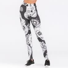 -Sexy Women Yoga Sports Leggings Floral Skull Head Diamond Print High Waist Workout Running Skinny Slim Fitness Pants on JD