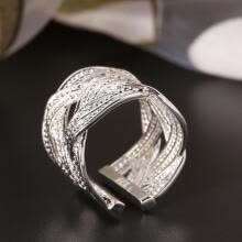 -Women 's 925 Sterling Silver Claw Ring Woven Mesh Style Jewelry Gift US 8 on JD