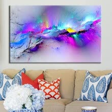 -Framed Modern multicoloured blue Canvas Wall Abstract Art Picture Large Print L on JD