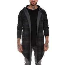 -Autumn And Winter Popular Plaid Print Hooded Coat Casual Men Lapel Long Coat Light Gray XXL Clothing on JD