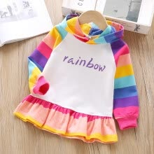 -Toddler Baby Girls Dress 2-7T Autumn Cartoon Rainbow Stripes Print Hooded Sweater Skirt Princess Cute Casual Long Sleeve Dress on JD