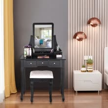 -Gobestart Vanity Set With Mirror & Cushioned Stool Dressing Table Vanity Makeup Table on JD