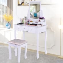 -Vanity Set With Mirror & Cushioned Stool Dressing Table Vanity Makeup Table on JD