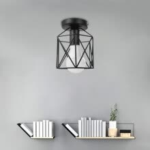 -Vintage Pendant lights Industrial Chandelier Black Metal Cage Hanging Fixture on JD