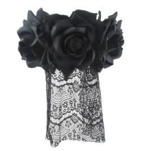 -Headband Headdress Artificial Rose Flower Black Lace Veiling Halloween Hat on JD