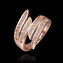 -Women's Fashion Luxury Rose Gold Plated Rhinestone Wedding Party Jewelry Ring on JD