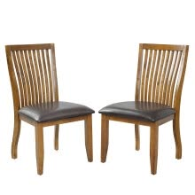 -2pcs Dining Chairs Set with PU Covered Cushion and Solid Wood Legs Home Kitchen Furniture Brown on JD