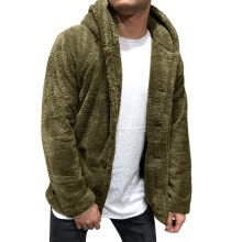 -Men's Autumn Winter Solid Color Cardigan Casual Blouse Fleece Tops Coat on JD