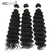 -HCDIVA Hair Products 7A Brazilian Virgin Hair Deep Wave 3 Bundles Deep Curly Human Hair Extensions Natural Black 300G/lot on JD