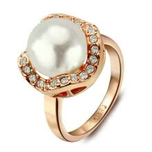 engagement-rings-Yoursfs® 18K Rose Gold Plated White Pearl Promise Rings Use Austrian Crystal Fashion Jewelry on JD