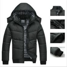 -Winter Coat Men Black Puffer Jacket Warm Overcoat Parka Outwear Cotton Padded Hooded Down Coat on JD
