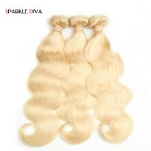 blonde-hair-Sparkle Diva Hair Brazilian Blonde onda del cuerpo 100% cabello humano Thick 3 Bundles Weaving # 613 Remy Hair envío gratis on JD