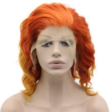 full-cap-wigs-Iwona Synthetic Hair Lace Front Shoulder Wavy Orange Ombre Wig on JD