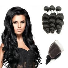 -kisshair loose wave hair weft nature color raw Indian human hair 8A grade remy hair bundles with closure on JD