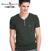-Dance with wolves, short-sleeved T-shirt, men's cotton, slim, solid color, V-neck, half-sleeve, male 9869, forest green XXL on JD