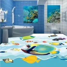 -Free Shipping HD underwater world 3D floor painting waterproof self-adhesive bedroom living room flooring mural 250cmx200cm on JD