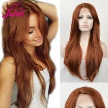 -JUNSI Orange Synthetic Lace Front Wigs for Women Afro Long Straight Wig with Bangs Heat Resistant Full Natural Hair on JD