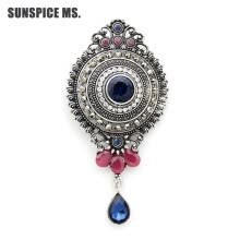 -Fashion Egyptian Women Round Water Drop Brooch Pins Antique Silver Color Resin Corsage Jewelry Turkish Bridal Indian Wedding Pin on JD