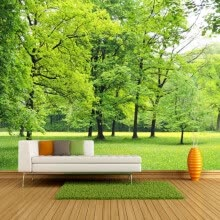 -Custom Wall Mural Wallpaper Green Forest 3D Photo Background Wall Decorations Living Room Sofa Bed Room Modern Straw Wallpaper on JD