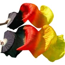 -2017 female high quality 100% silk veils Fans 1pcs left hand  fans + 1pcs right hand fans Black+Red+Orange+Yellow on JD
