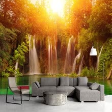 -Custom Wall Mural Photo Wallpaper Modern Living Room Sofa TV Background Art Painting Sunshine Forest Waterfall 3D Wall Paper on JD