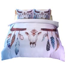 -iDouillet Skull Feathers Bedding Set 3 or 2 pcs Tribal Boho Chic Reversible Duver Cover & Pillowcases Twin Queen King Double Size on JD