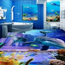 -Free Shipping Dazzling dolphin underwater kitchen bedroom 3D floor bathroom living room lobby flooring mural 250cmx200cm on JD