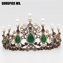 -Vintage Beauty Bead Hollow Flower Tiaras Women Antique Resin Crown Turkish Indian Bohemia Ethnic Wedding Hairbands Hair Jewelry on JD