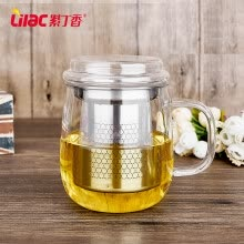 cups-Lilac glass office Cup Cup belt cover male and female thickened belt filter cup tea cup package on JD