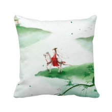 -Riding A Horse Go Chinese Watercolor Polyester Toss Throw Pillow Square Cushion Gift on JD