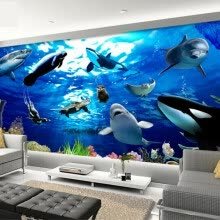 -Custom Mural Wallpaper 3D Stereoscopic Dolphin Marine Animals Wallpaper Bedroom Children's Room Non-woven Wallpaper Mural Walls on JD