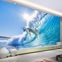 -Custom 3D Photo Wallpaper Ocean World Dolphin TV Background Wall Decorations Living Room Bedroom Home Decor Wallpaper Mural on JD