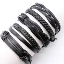 875062458-5Pcs Unisex Men Women Black Brown Colorful Leather Bracelet Wristband on JD