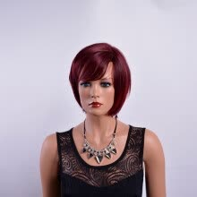 -QianBaiHui Wine Red Short Pixie Cut Synthetic Wigs For Black Women With Side Bangs Natural Straight Heat Resistant Party Full Wig on JD