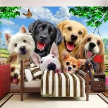 -3D Wallpaper Cute Cartoon Lawn Dog Animal Photo Wall Murals Children Kids Bedroom Backdrop Wall Home Decor Papier Peint Enfant on JD