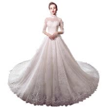-High Neck 3/4 Long Sleeve A Line Vintage Wedding Gown on JD