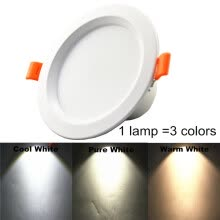 spot-lamps-LED Downlight 7W Warm white Pure white Cool white dimming 3colors LED bulb SMD 5733 Sectional dimming LED ceiling lamp on JD