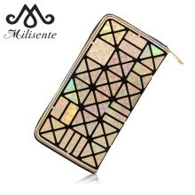 -Milisente Women Leather Wallet Female Colorful Clutch Purse Ladies Zipper Geometric Standard Wallets on JD