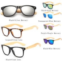 875061442-Unisex Bamboo Sunglasses Men Wooden Sun glasses Women Mirror Eyeglasses- Black + Blue Mercury on JD