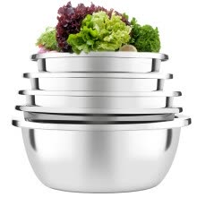 -European Oak OAK thick stainless steel flavor bucket basin sieve five sets of vegetables washing drain surface mixing bacon rice sieve five combinations OX-C105 on JD