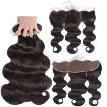 -Brazilian Human Hair Bundles with Frontal Body Wave Hair 3 Bundles With 13x4 Lace Frontal 100% Unprocessed Human Hair Extensions on JD