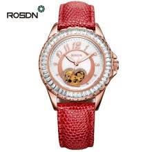 -Luxury ROSDN Brand Ladies Watch Pearl Dial Leather Strap Automatic Mechanical Watch Women Clock Waterproof Fashionable Watch on JD