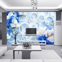 -Custom Photo Wall Paper Modern Fashion 3D Circles Blue Floral TV Background Mural Non-woven Fabric Wallpaper For Bedroom Walls on JD