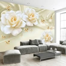 -Custom Any Size 3D Wall Painting Rose Flower Butterfly Silk Non-woven Fabric Large Mural Wallpaper Living Room Sofa TV Backdrop on JD