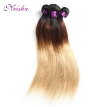 -Ombre Brazilian Virgin Hair Straight Human Hair Weave Bundles 3 Bundles Deal T1B 4 27 Ombre Blonde Straight Hair Bundles on JD