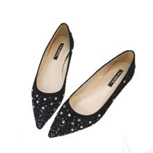 875061444-Sexy Diamond Black Narrow Flat Shoes on JD