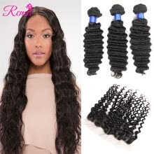 -Rcmei Hot sale 8A hair Deep Wave Brazilian Hair 13x4 Lace Frontal Closure With Baby Hair Remy Human Hair 3 Bundles Deep Weave With on JD