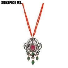 -Elegent Vintage Turkish Women Seed Bead Flower Pendant Necklace Sets Antique Resin Indian Ethnic Wedding Retro Strand Jewelry on JD