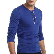 875061442-2018 New Men's Fashion Long Sleeved Shirts Cotton Slim Fit Solid Color Round Neck Casual  T-shirts Tops on JD
