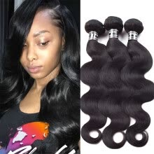 -Amazing Star Body Wave Bundles Indian Virgin Hair Body Wave 3 Bundles Grade 7A Unprocessed Human Hair Extensions Thick and Soft on JD